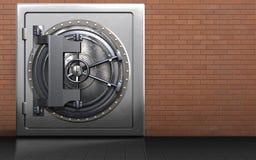 3d steel door steel door. 3d illustration of metal safe with steel door over red bricks background Stock Photography