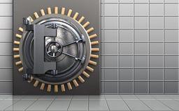 3d steel door steel door. 3d illustration of metal box with steel door over white wall background Royalty Free Stock Image