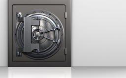 3d steel door steel door. 3d illustration of metal safe with steel door over white background Stock Photography