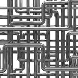 3d Steel pipes arrangement Stock Images