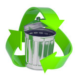 3d Steel trash can with recycle symbol Stock Photography
