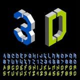 3D stencil angular isometric font alphabet Royalty Free Stock Image