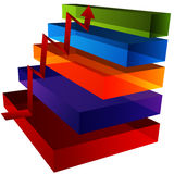 3D Step Chart Stock Photo