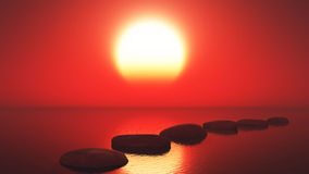 3D stepping stones in the ocean against a sunset sky Stock Image
