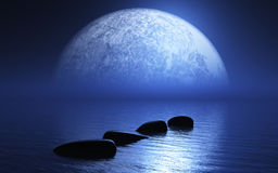 3D stepping stones in ocean with planet Royalty Free Stock Images