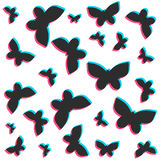 3D stereo flat style butterflies pattern Royalty Free Stock Image