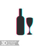 3D stereo flat style wine bottle and glass, vector. Isolated on white background Stock Image
