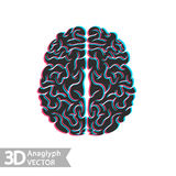 3D stereo illustration of brain Stock Image