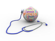 3d stethoscope and fitness wordcloud ball Stock Photography