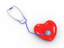 3d stethoscope with heart Royalty Free Stock Image