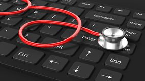 3D stethoscope on keyboard. 3D rendered red stethoscope with red wire on black keyboard Royalty Free Stock Images