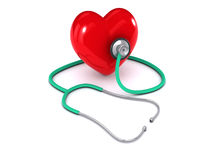 3d Stethoscope listens to heart Royalty Free Stock Photography