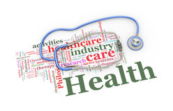 3d stethoscope over healthcare word tags illustration Royalty Free Stock Photo