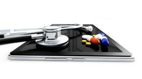 3d stetoskop z pastylką na białym tle Obraz Royalty Free