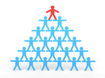 3d stick men making a human pyramid with leader on top Stock Photography