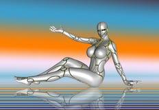 3D sticker van de de levensstijlaffiche van het Robot Super Meisje Stock Foto's