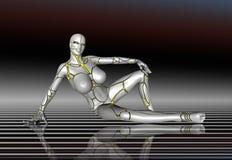 3D sticker van de de levensstijlaffiche van het Robot Super Meisje Royalty-vrije Stock Afbeelding