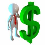 3D Stickman with Dollar Money royalty free illustration
