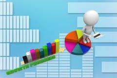 3d stijgende Enige grafiek met cirkeldiagramillustratie Stock Foto's