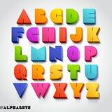 3D stijl van de alfabet kleurrijke doopvont. Royalty-vrije Stock Afbeeldingen