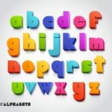 3D stijl van de alfabet kleurrijke doopvont. Stock Afbeeldingen