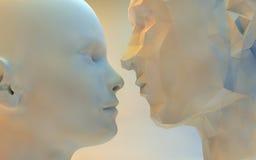 3D stiliserad kvinna och man Royaltyfria Bilder