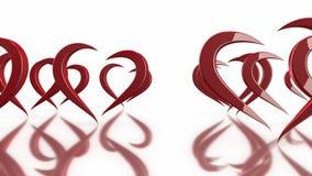 3D stiliserade roterande förälskelsehjärtor i vit bakgrund vektor illustrationer