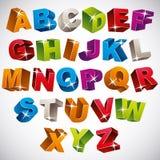 3D stilsort, djärvt färgrikt alfabet Arkivfoto