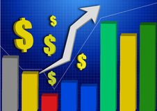 3d stocks graph upper with color volume indicator Stock Photography