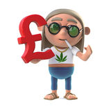 3d Stoner hippie holds UK Pounds Sterling symbol. 3d render of a stoner hippie holding a UK Pounds Sterling currency symbol stock illustration