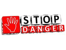 3D Stop Danger Hand block text Royalty Free Stock Photo