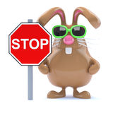 3d Stop sign bunny Royalty Free Stock Image