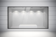 3d store front with big windows. On white Royalty Free Stock Photo