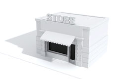 3d store shop front with big windows Royalty Free Stock Photo