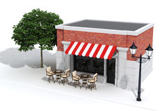 3d store shop front with big windows. On white Stock Photography