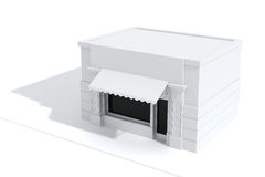 3d store shop front with big windows. On white Royalty Free Stock Photo
