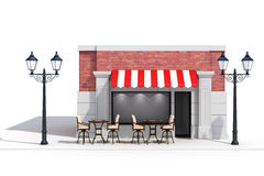 3d store shop front with big windows. On white Royalty Free Stock Photography