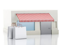 3d Store with shopping bags. Stock Photography