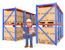 3D Storekeeper checking pallets in the warehouse. 3d working people illustration. Storekeeper checking pallets in the warehouse. White background Royalty Free Stock Image