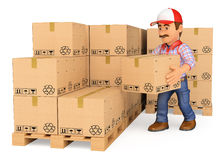3D Storekeeper stacking boxes in a warehouse. 3d working people. Storekeeper stacking boxes in a warehouse. White background Stock Photos