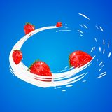 3d strawberry yogurt flavour ad promotion. milk splash with fruits isolated on blue. daily product swirl. Stock Image