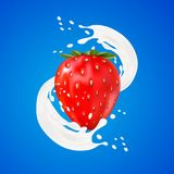 3d strawberry yogurt flavour ad promotion. milk splash swirl with fruits on white. royalty free illustration