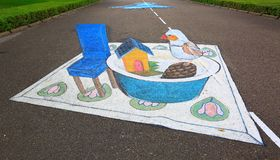 3D street anamorphic painting on asphalt in a park. View of blue chair near deep plate with toy hause and bird figure. Asphalt art concept. Maldives, Hulhumale royalty free illustration