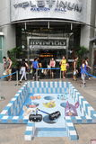 3D Street Art. View of 3D street art by an unidentified artist on Mar 7, 2013 in Bangkok, Thailand. The Thai capital has a vibrant street art and graffiti scene Stock Images