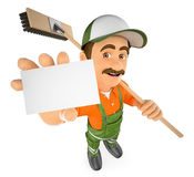 3D Street sweeper with a blank card. 3d working people illustration. Street sweeper with a blank card. White background Stock Image