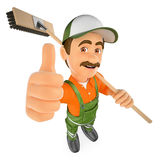3D Street sweeper with thumb up. 3d working people illustration. Street sweeper with thumb up. White background Royalty Free Stock Image