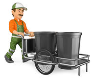 3D Street sweeper working with his garbage trolley. 3d working people illustration. Street sweeper working with his garbage trolley. White background Stock Photo