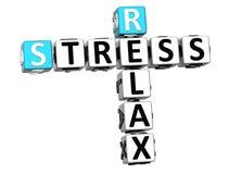 3D stres Relaksuje Crossword sześcianu słowa Zdjęcia Royalty Free