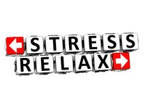 3D Stress Relax Button Click Here Block Text. Over white background Stock Photography