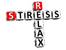 3D Stress Relax Crossword cube words Stock Photos
